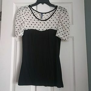 Black and cream lace polka dot top
